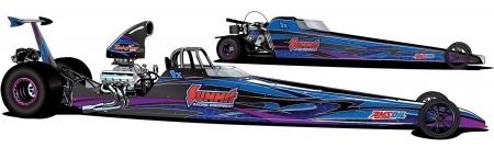 Renderings of the 2014 IHRA Summit SuperSeries prize dragsters