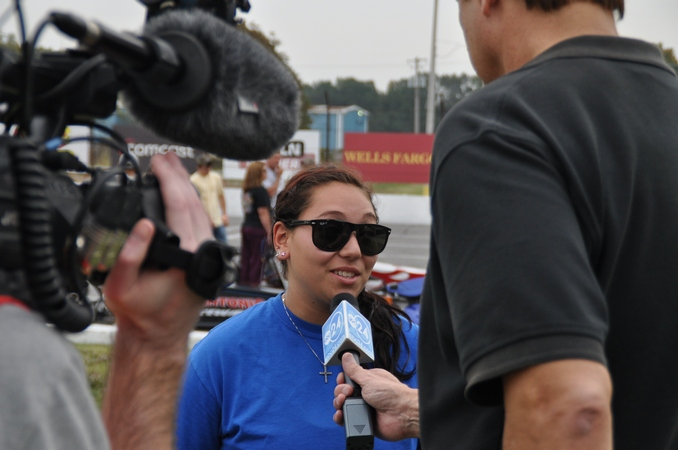 Top Dragster competitor Mia Tedesco takes some time to talk with the local news media